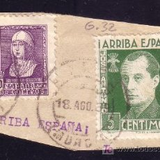 Sellos: ESPAÑA. FALANGE. 1939.FRAG.SELLO DE 40 C.ISABEL Y VIÑETA DE JOSÉ ANTONIO DE 5 CTS. MAT. LORCA/MURCIA. Lote 26270663