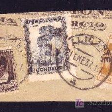 Sellos: ESPAÑA.(CAT.673,681,LOCAL 1).FRAG. CON DOS SELLOS Y LOCAL 5C. MILICIAS POPULARES. MAT. ALICANTE.RARO. Lote 24588275