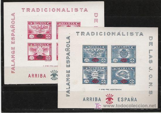 ESPAÑA FALAGE ESPAÑOLA SERIE DE 2 HOJAS BLOQUE (Sellos - España - Guerra Civil - Beneficencia)