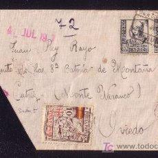 Sellos: ESPAÑA.(CAT.820 (4),LOCAL 5).1937.SOBRE CERTIF. DE LA CORUÑA A OVIEDO. BONITO FRANQUEO CON LOCAL.. Lote 23838509
