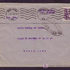 Sellos: ESPAÑA.(CAT.858).1939.SOBRE DE ZARAGOZA A BARCELONA.40 C. ISABEL.MAT. RODILLO.CENSURA ZARAGOZA.M.BTA. Lote 24310029
