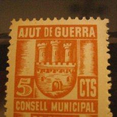 Sellos: SELLO AJUT DE GUERRA, CONSELL MUNICIPAL DE SITGES, 5 CTS. Lote 4618470