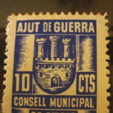 Sellos: SELLO AJUT DE GUERRA, CONSELL MUNICIPAL DE SITGES, 10 CTS. Lote 4618483