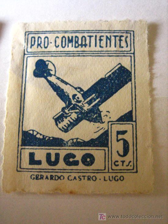 PRO COMBATIENTES LUGO, 5 CTS (Sellos - España - Guerra Civil - Viñetas - Usados)