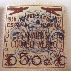 Sellos: SELLO 1936-1937, ANIVERSARIO ESPAÑA NACIONAL, CANARIAS, CORREO AEREO, 50 CTS. Lote 4652543