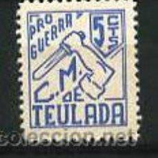 Sellos: TEULADA. PRO GUERRA. CONSEJO MUNICIPAL DE TEULADA 5 CTS. AZUL. GOMA ORIGINAL SIN OXIDACION.. Lote 5100378