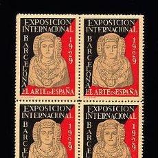 Sellos: VIÑETA - EXPOSICIÓN DE BARCELONA 1929 - DAMA DE ELCHE - BLOQUE DE 4 - NUEVO - GRAN LUJO. Lote 27211299