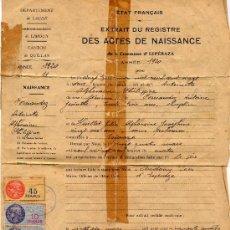 Sellos: PARTIDA DE NACIMIENTO DE 1954 CON SELLOS FISCALES ESPAÑOLES Y FRANCESES. Lote 27132987