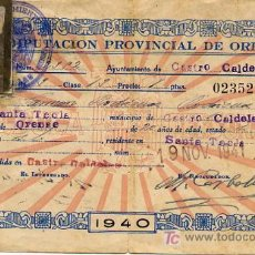 Sellos: CÉDULA PERSONAL DE 1940 CON DOS VIÑETAS DE AUXILIO SOCIAL. Lote 26430926