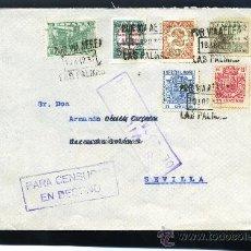 Sellos: SOBRE CON SELLOS CANARIAS 8-10 , Y FISCALES POSTALES 49 66 , CENSURA SEVILLA. Lote 8512256