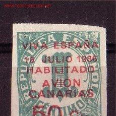 Sellos: CANARIAS 8*** - AÑO 1937 - SELLOS DE ESPAÑA HABILITADOS - NUMEROS. Lote 11313937