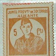 Sellos: JUNTA PROVINCIAL DE SOCORROS. ALICANTE. MILICIAS POPULARES 5 CTS. Lote 12123642