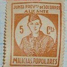 Sellos: JUNTA DE SOCORROS, 5 CTS. ALICANTE, HABILITADO DE 10 CTS. Lote 8025976