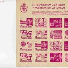 Sellos: VIÑETA IX EXPOSICION FILATELICA Y NUMISMATICA DE GRACIA . Lote 1338635