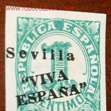 Sellos: REPÚBLICA ESPAÑOLA, 1 CT, RETIMBRADO SEVILLA VIVA ESPAÑA JULIO DE 1936. Lote 13973009