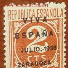 Sellos: REPÚBLICA ESPAÑOLA, 2 CTS, CORREOS, RETIMBRADO VIVA ESPAÑA, ZARAGOZA JULIO DE 1936. Lote 1571228