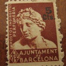 Sellos: IMPOSTOS INDIRECTES, PERFUMERIA, 5 CTS. AJUNTAMENT DE BARCELONA.. Lote 21423798