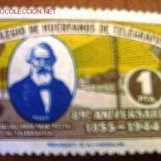 Sellos: COLEGIO DE HUÉRFANOS DE TELÉGRAFOS 1 PTA, 89º ANIVERSARIO 1855-1944. Lote 20663796