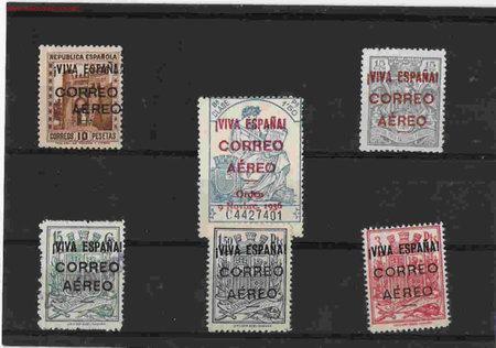 PRECIOSA Y MUY RARA SERIE PATRIOTICA (Sellos - España - Guerra Civil - Locales - Usados)