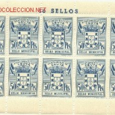 Sellos: 1 PLIEGO DE 10 SELLOS IGUALES DE CEUTA - 50 PTS (FOURNIER) (3). Lote 40612895