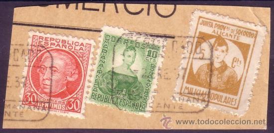 ESPAÑA.(CAT.682,687, LOCAL 1). FRANQUEO. 5 CTS. MILICIAS POPULARES ALICANTE Y DOS SELLOS. MAGNÍFICO. (Sellos - España - Guerra Civil - Locales - Usados)
