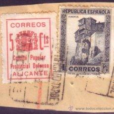 Sellos: ESPAÑA. (CAT.673, LOCAL 8). FRANQUEO. 5 CTS. *COMITE POPULAR/PROVINCIAL DEFENSA/ALICANTE*.MUY BONITO. Lote 23477615