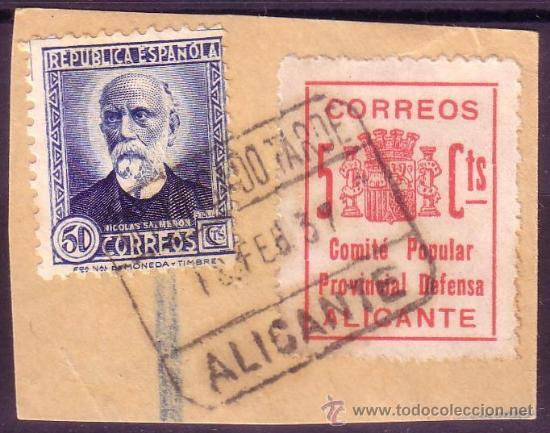 ESPAÑA. (CAT. 688, LOCAL 8). FRANQUEO. 5 CTS. COMITE POPULAR ALICANTE Y SELLO. MAT. CERTIF. TARDE. (Sellos - España - Guerra Civil - Locales - Usados)