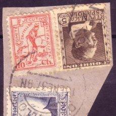Sellos: ESPAÑA. (CAT. 681, 688, LOCAL 3). FRANQUEO. 10 CTS. COMITÉ ANTIFASCISTA CASTELLÓN. MAGNÍFICO.. Lote 24951737