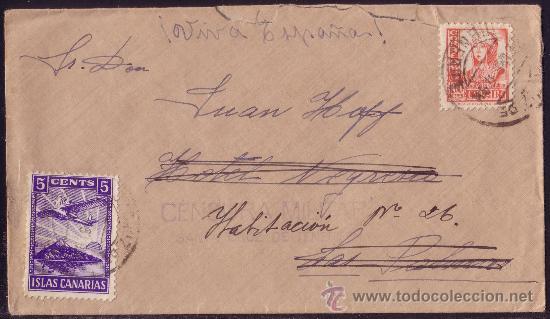 ESPAÑA.1937. SOBRE DE TENERIFE A LAS PALMAS. 30 CTS. Y LOCAL. MARCA CENSURA SANTA CRUZ. BONITA. (Sellos - España - Guerra Civil - Locales - Cartas)