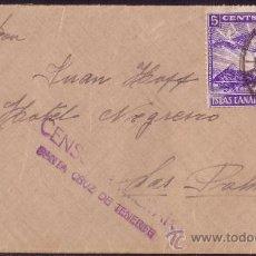 Sellos: ESPAÑA.1937.SOBRE DE SANTA CRUZ DE TENERIFE A LAS PALMAS.30 C. Y LOCAL.MARCA DE CENSURA.. Lote 25333108