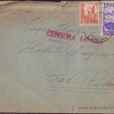 Sellos: ESPAÑA.1937. SOBRE DE TENERIFE A LAS PALMAS. 30 CTS. Y LOCAL. MARCA DE CENSURA ROJA.. Lote 24328199