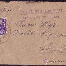 Sellos: ESPAÑA. 1937. SOBRE DE TENERIFE A LAS PALMAS. 30 C. Y LOCAL. MARCA CENSURA MILITAR. MUY BONITA.. Lote 23396041