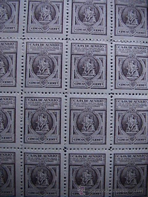 DOS PLIEGOS DE VIÑETAS DE LA CAJA DE AUXILIO (Sellos - España - Guerra Civil - Viñetas - Usados)