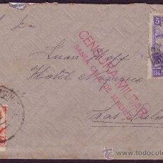 Sellos: ESPAÑA. 1937. SOBRE DE STA. CRUZ A LAS PALMAS (CANARIAS). 30 C. + LOCAL. CENSURA ROJA. MUY BONITA.. Lote 25647074