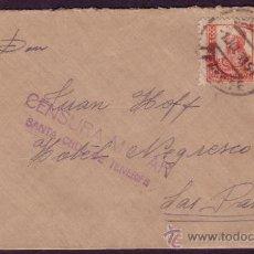 Sellos: ESPAÑA. 1937. SOBRE DE STA. CRUZ A LAS PALMAS (CANARIAS). 30 C.+LOCAL. CENSURA VIOLETA. MUY BONITA.. Lote 22505176