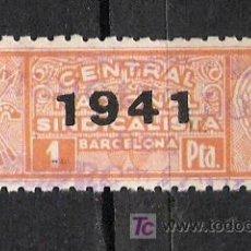 Sellos: NC143 BARCELONA CENTRAL NACIONAL SINDICALISTA 1 PTA ROJO SCGA -1941-ESPECTACULOS. Lote 22091582