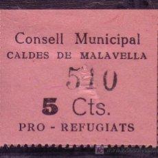 Sellos: GERONA.- CALDES DE MALAVELLA PRO REFUGIADOS, 5 CTMOS. PAPEL ROSA. . Lote 22309264