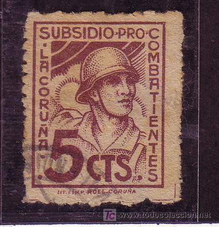 CORUÑA.- Nº B-225 PRO COMBATIENTES CORUÑA 5 CTMOS. MARRÓN. (Sellos - España - Guerra Civil - Locales - Cartas)