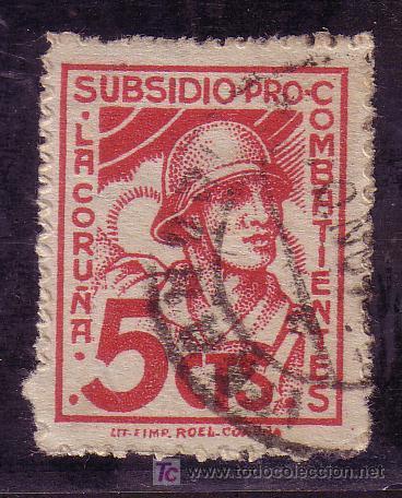 CORUÑA.- Nº 252 PRO COMBATIENTES CORUÑA 5 CTMOS. ROJO. (Sellos - España - Guerra Civil - Locales - Cartas)