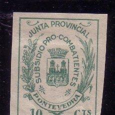 Sellos: PONTEVEDRA.- Nº 616 PRO COMBATIENTES 10 CTMOS. VERDE SOBRE PAPEL BLANCO . Lote 13781190
