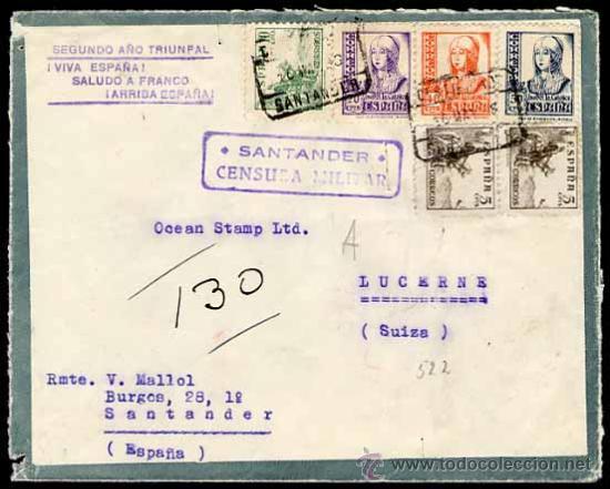 CARTA, REVERSO TIPO POSTAL ,1938 SANTANDER A SUIZA (Sellos - España - Guerra Civil - De 1.936 a 1.939 - Cartas)