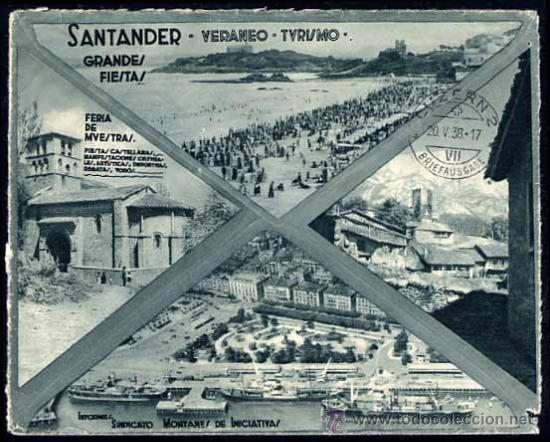 Sellos: Carta, reverso tipo postal ,1938 santander a suiza - Foto 2 - 26872343