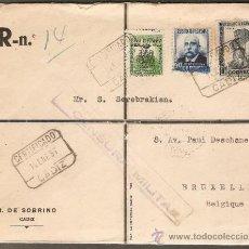 Sellos: CARTA CERTIFICADA CIRCULADA 12/ENERO/1937, DE CADIZ A BRUSELAS VIA LISBOA . CENSURA MILITAR. Lote 26872347