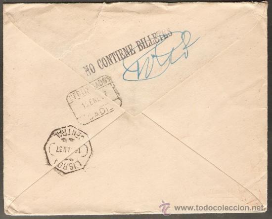 Sellos: CARTA CERTIFICADA CIRCULADA 12/ENERO/1937, DE CADIZ A BRUSELAS VIA LISBOA . CENSURA MILITAR - Foto 2 - 26872347