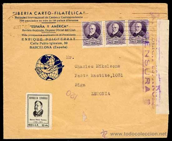 SOBRE CARTA CON CENSURA DE LA REPUBLICA JUNIO 1937 DE BARCELONA A RIGA. (Sellos - España - Guerra Civil - De 1.936 a 1.939 - Cartas)