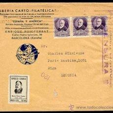 Sellos: SOBRE CARTA CON CENSURA DE LA REPUBLICA JUNIO 1937 DE BARCELONA A RIGA.. Lote 26872342