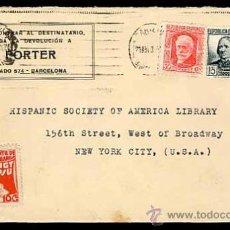 Sellos: SOBRE CARTA CON CENSURA DE LA REPÚBLICA 1937 DE BARCELONA A NUEVA YORK. SELLO DE UGT PSU. Lote 26872341