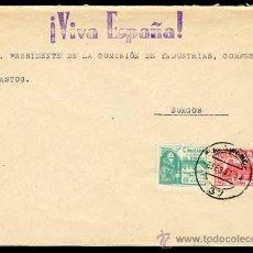 Sellos: SOBRE CARTA 16 FEBRERO 1937 SALAMANCA A BURGOS, GRUESA MARCA PATRIOTICA ¡VIVA ESPAÑA! . Lote 26872348