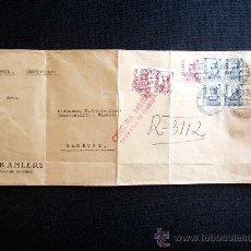 Sellos: CARTA 1938, DE SANTA CRUZ DE TENERIFE A HAMBURGO ALEMANIA. SELLO ISABEL LA CATÓLICA EDIFIL 825 Y 823. Lote 27283168