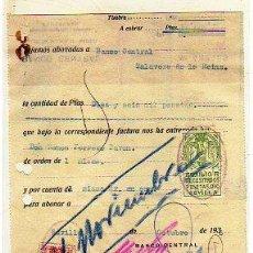 Sellos: AUXILIO A NECESITADOS PESETAS 0,10. SEVILLA. ESPECIAL MOVIL. SOBRE DOCUMENTO. TALAVERA DE LA REINA.. Lote 14660094